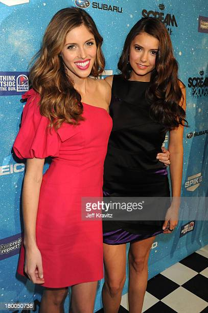 Actress Kayla Ewell and actress Nina Dobrev arrives at Spike TV's Scream 2009 held at the Greek Theatre on October 17 2009 in Los Angeles California