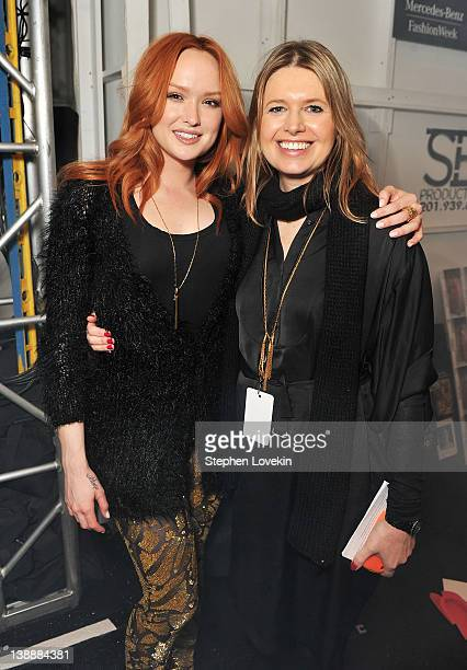 Actress Kaylee DeFer and designer Jenny Packham pose backstage at the Jenny Packham Fall 2012 fashion show during MercedesBenz Fashion Week at The...