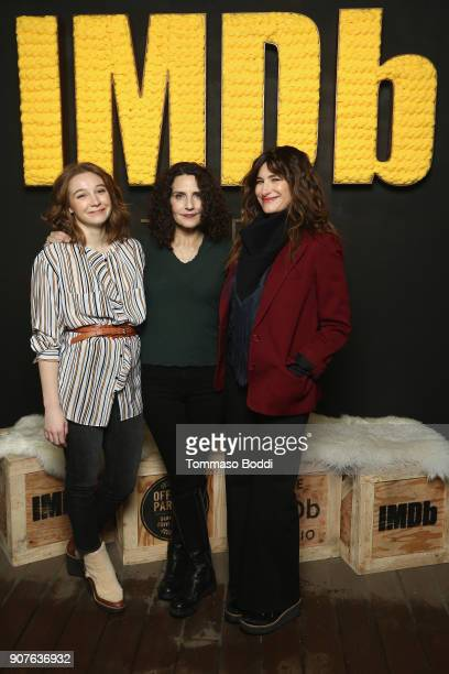 Actress Kayli Carter director Tamara Jenkins and actress Kathryn Hahn of 'Private Life' attend The IMDb Studio and The IMDb Show on Location at The...