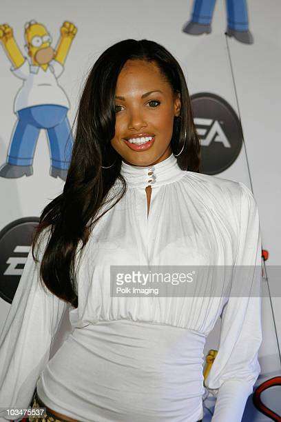 Actress KD Aubert arrives at The Simpsons game launch party presented by EA at the Hard Rock Cafe on October 30 2007 in Universal City California