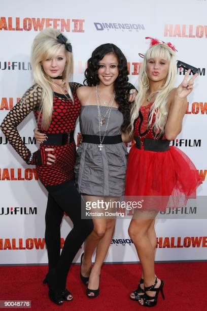 Actress Keana Texeira and Miss Lolitas arrive for Premiere Of Dimension Films' Halloween II at Grauman's Chinese Theatre on August 24 2009 in...