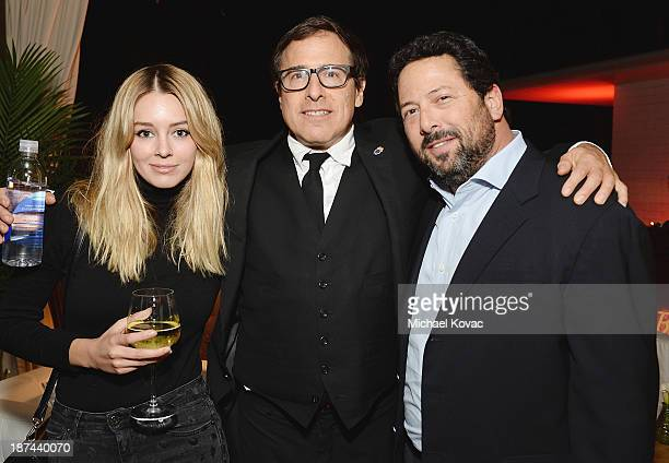 Actress Keeley Hazell director David O Russell and agent Josh Liberman attend the reception for the Special Tribute An Evening With David O Russell...