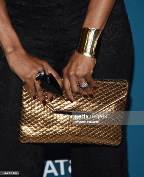 Actress Keesha Sharp, clutch and jewelry detail, arrives at the Essence 10th Annual Black Women in Hollywood Awards Gala at the Beverly Wilshire Four...