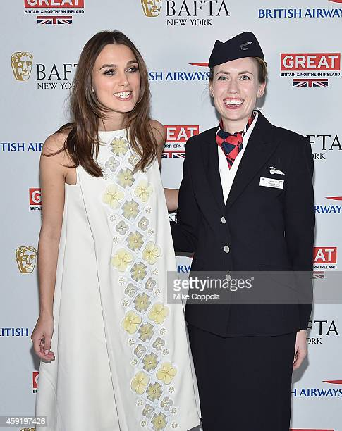 Actress Keira Knightley and British Airways employee Victoria Long pose for a picture at BAFTA New York Presents In Conversation With Keira Knightley...