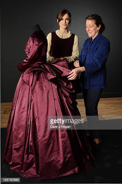 Actress Keira Knightley and costume designer Jacqueline Durran pose with the costume Keira wore in the film Anna Karenina It will be featured in the...
