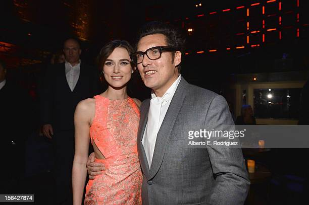 Actress Keira Knightley and director Joe Wright attend the after party for Focus Features' Anna Karenina at Greystone Manor on November 14 2012 in...