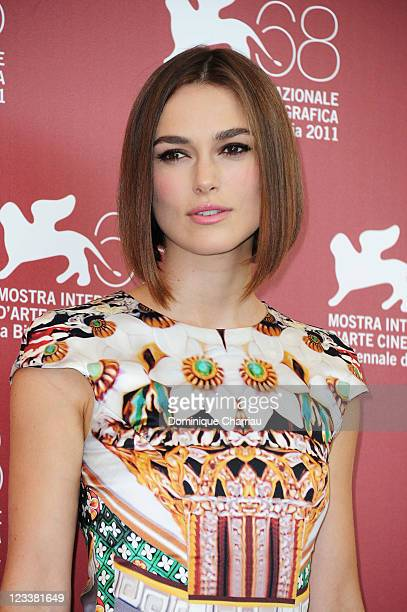 """Actress Keira Knightley appears at the """"A Dangerous Method"""" photocall during the 68th Venice International Film Festival at Palazzo del Casino on..."""