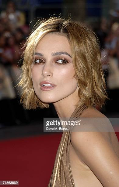 """Actress Keira Knightley arrives at the European Premiere of """"Pirates Of The Caribbean 2: Dead Man's Chest"""" at Odeon Leicester Square on July 3, 2006..."""