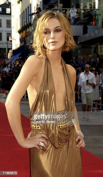 Actress Keira Knightley arrives at the European Premiere of 'Pirates Of The Caribbean Dead Man's Chest' at Odeon Leicester Square on July 3 2006 in...