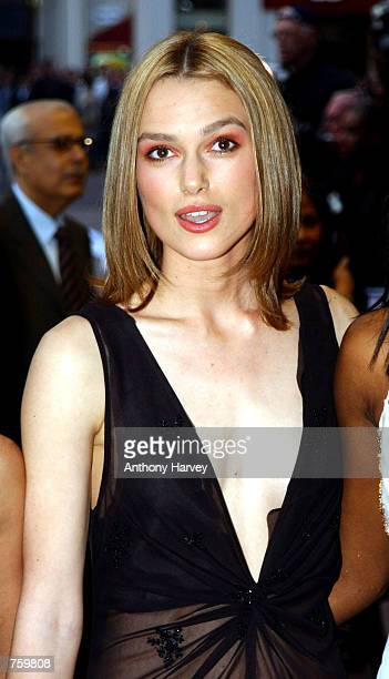 Actress Keira Knightley arrives at the premiere of 'Bend it Like Beckham' April 11 2002 in London