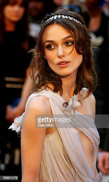 Actress Keira Knightley arrives at the UK premiere of the film 'Atonement' at the Odeon in Leicester Square on September 4 2007 in London England...
