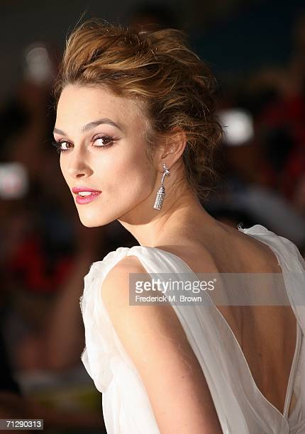 "Actress Keira Knightley arrives at the world premiere of ""Pirates of the Caribbean 2: Dead Man's Chest"" held at Disneyland on June 24, 2006 in..."
