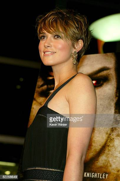 Actress Keira Knightley arrives at Warner Independent's Premiere of The Jacket at the Pacific ArcLight Theaters on February 28 2005 in Hollywood...