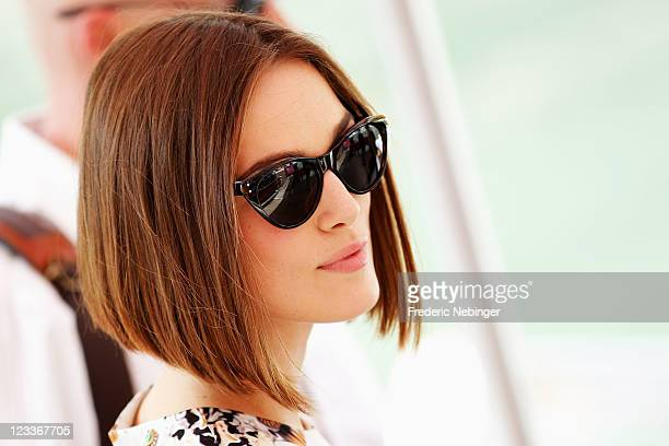 """Actress Keira Knightley arrives for the """"A Dangerous Method"""" photocall during the 68th Venice International Film Festival at Palazzo del Casino on..."""