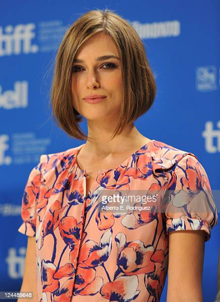 Actress Keira Knightley arrives onstage at A Dangerous Method press conference during the 2011 Toronto International Film Festival at TIFF Bell...