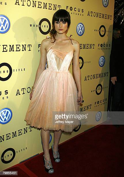 """Actress Keira Knightley arrives to the Los Angeles Premiere of """"Atonement"""" at The Academy of Motion Picture Arts and Sciences on December 6, 2007 in..."""