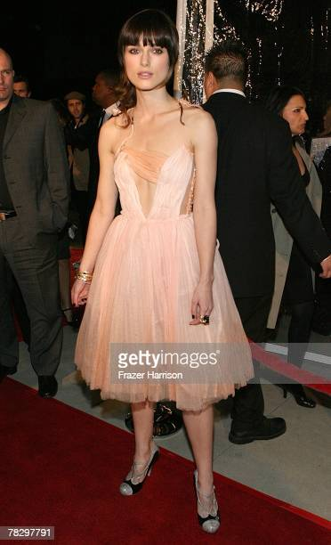 """Actress Keira Knightley arrives to the Premiere Of Focus Features' """"Atonement"""" at The Academy of Motion Picture Arts and Sciences on December 6,2007..."""