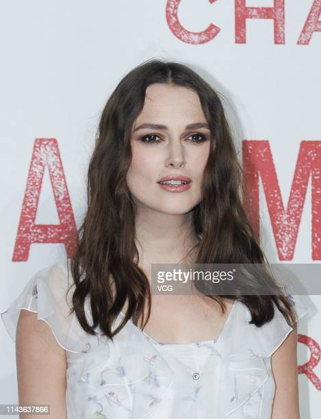 Actress Keira Knightley attends Chanel 'Mademoiselle Prive' exhibition opening ceremony at West Bund Art Center on April 18, 2019 in Shanghai, China.