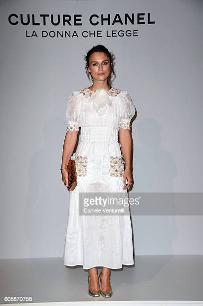 Actress Keira Knightley attends 'Culture CHANEL' exhibition opening at The International Gallery of Modern Art Ca' Pesaro on September 15 2016 in...