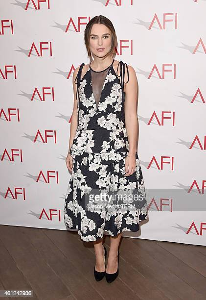 Actress Keira Knightley attends the 15th Annual AFI Awards at Four Seasons Hotel Los Angeles at Beverly Hills on January 9 2015 in Beverly Hills...