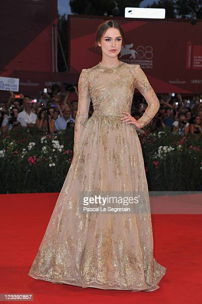 Actress Keira Knightley attends the A Dangerous Method premiere during the 68th Venice Film Festivalat Palazzo del Cinema on September 2 2011 in...