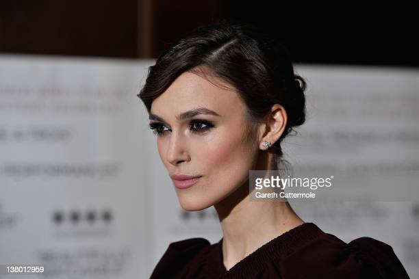 Actress Keira Knightley attends the A Dangerous Method UK Gala film premiere at The Mayfair Hotel on January 31 2012 in London England