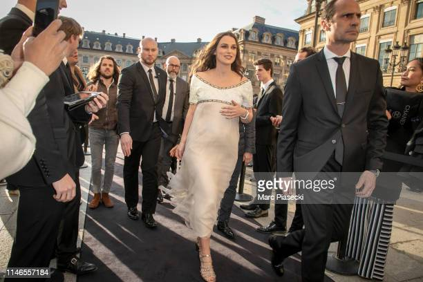 Actress Keira Knightley attends the CHANEL J12 cocktail on Place Vendome on May 02 2019 in Paris France