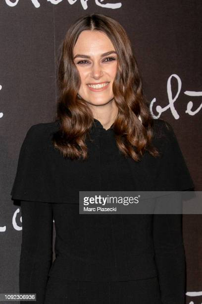 Actress Keira Knightley attends the 'Colette' Premiere at Cinema Gaumont Marignan on January 10, 2019 in Paris, France.