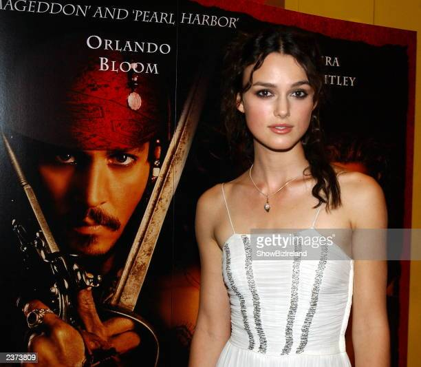 Actress Keira Knightley attends the Irish Premiere of 'Pirates of the Caribbean' at UGC Cinema August 5 2003 Dublin Ireland