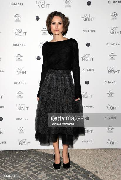 Actress Keira Knightley attends the Last Night Dinner Party during the 5th International Rome Film Festival at the Maxxi Museum on October 28 2010 in...