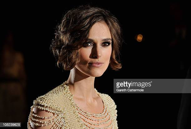 Actress Keira Knightley attends the 'Never Let Me Go' premiere during the Opening Night of the 54th BFI London Film Festival at the Odeon Leicester...