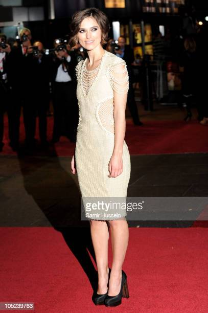 Actress Keira Knightley attends the Never Let Me Go premiere during the opening night of the 54th BFI London Film Festival at Odeon Leicester Square...