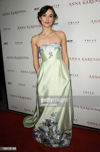 """Actress Keira Knightley attends the premiere of """"Anna Karenina"""" at ArcLight Hollywood on November 14, 2012 in Hollywood, California."""