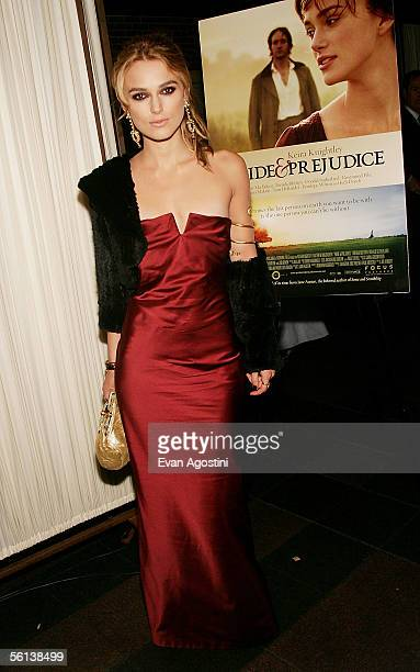 Actress Keira Knightley attends the Pride Prejudice premiere after party at the Loeb Boathouse November 10 2005 in New York City