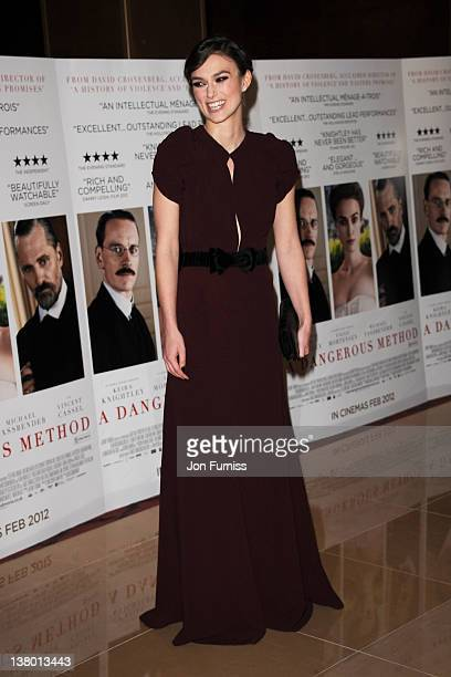 Actress Keira Knightley attends the UK premiere of A Dangerous Method at The Mayfair Hotel on January 31 2012 in London England