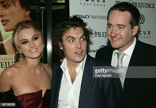 Actress Keira Knightley director Joe Wright and actor Matthew Macfadyen attend the premiere of Pride Prejudice at Loews Lincoln Square November 10...