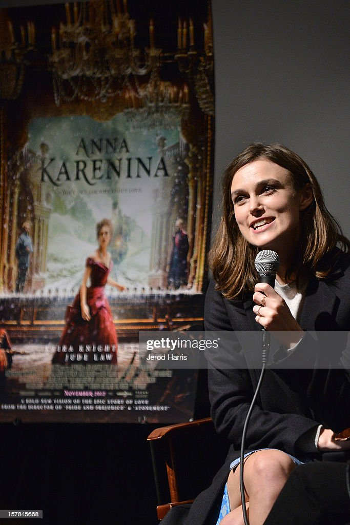 Actress Keira Knightley participates in a Q&A session following TheWrap's Awards Season Screening Series of 'Anna Karenina' on December 6, 2012 in Los Angeles, California.