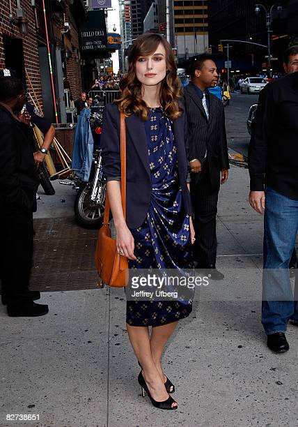 "Actress Keira Knightley visits ""Late Show with David Letterman"" at the Ed Sullivan Theatre on September 8, 2008 in New York City."