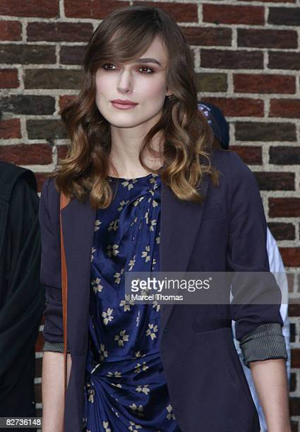 """Actress Keira Knightley visits """"Late Show with David Letterman"""" on September 8, 2008 in New York City."""