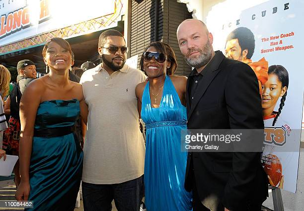 Actress Keke Palmer actor Ice Cube Jasmine Plummer and director Fred Durst attend the world premiere of the Weinstein Company's 'The Longshots' at...