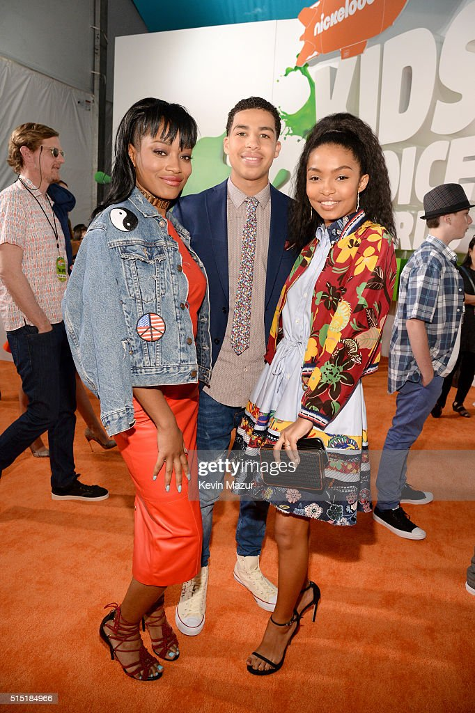 Actress Keke Palmer, actor Marcus Scribner, and actress Yara Shahidi attend Nickelodeon's 2016 Kids' Choice Awards at The Forum on March 12, 2016 in Inglewood, California.