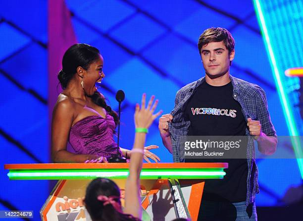 Actress Keke Palmer and actor Zac Efron speak onstage at Nickelodeon's 25th Annual Kids' Choice Awards held at Galen Center on March 31 2012 in Los...
