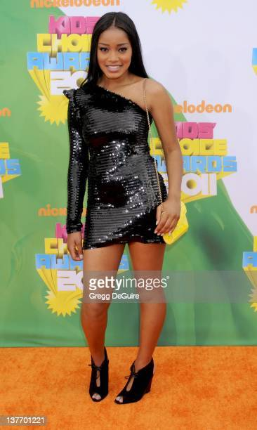 Actress Keke Palmer arrives on the orange carpet at the Nickelodeon Kids' Choice Awards 2011 at USC's Galen Center April 2 2011 in Los Angeles...