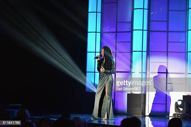 Actress Keke Palmer performs onstage during the 2016 ABFF Awards A Celebration Of Hollywood at The Beverly Hilton Hotel on February 21 2016 in...