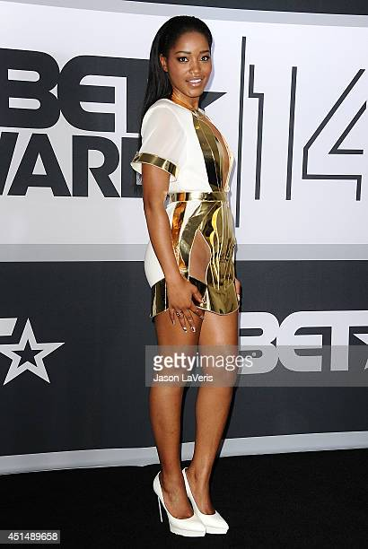 Actress Keke Palmer poses in the press room at the 2014 BET Awards at Nokia Plaza LA LIVE on June 29 2014 in Los Angeles California