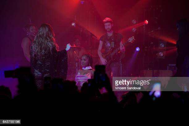Actress Keke Palmer receives a lap dance from singer JoJo during her performance at The Fonda Theatre on February 21 2017 in Los Angeles California