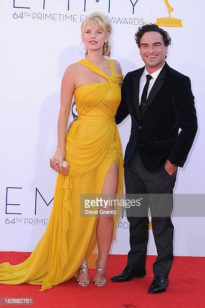 Actress Kelli Garner and actor Johnny Galecki arrives at the 64th Primetime Emmy Awards at Nokia Theatre LA Live on September 23 2012 in Los Angeles...
