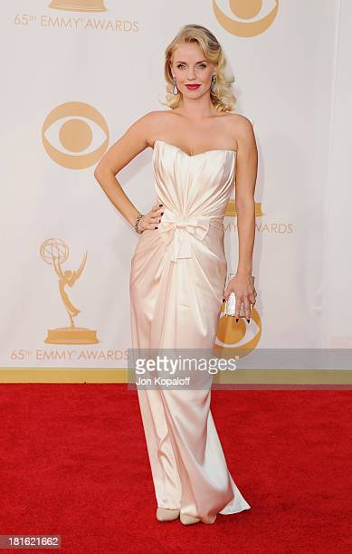 Actress Kelli Garner arrives at the 65th Annual Primetime Emmy Awards at Nokia Theatre LA Live on September 22 2013 in Los Angeles California