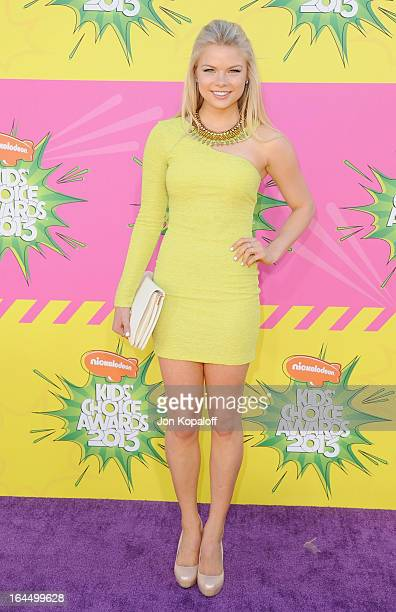 Actress Kelli Goss arrives at Nickelodeon's 26th Annual Kids' Choice Awards at USC Galen Center on March 23 2013 in Los Angeles California