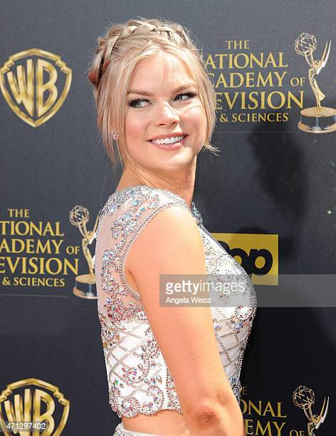 Actress Kelli Goss arrives at the 42nd Annual Daytime Emmy Awards at Warner Bros Studios on April 26 2015 in Burbank California